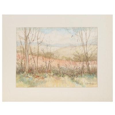 Ellen Hoffner Rural Landscape Watercolor Painting