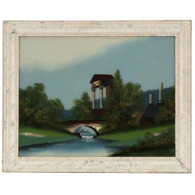 Mixed Media Reverse Glass Painting of River Landscape and Ruins