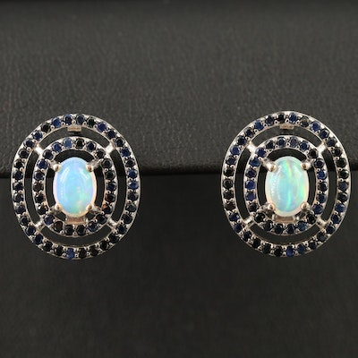 Sterling Silver Opal Earrings with Sapphire Double Halos