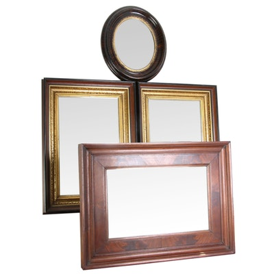 Victorian Oval and Rectangular Walnut and Partial Gilt Mirrors, 19th Century