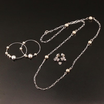 Sterling Station Necklace and Earrings with Pearl and Cubic Zirconia