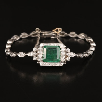 14K 3.30 CT Emerald and Diamond Bracelet