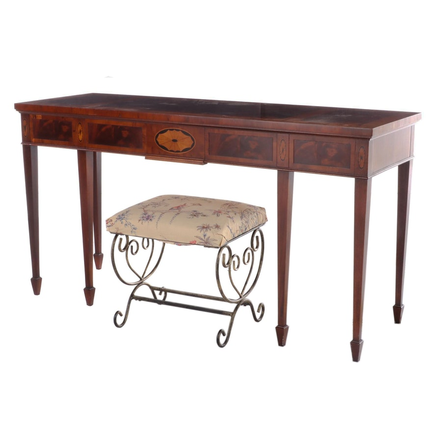 Hekman Hepplewhite Style Marquetry Console Table with Upholstered Stool