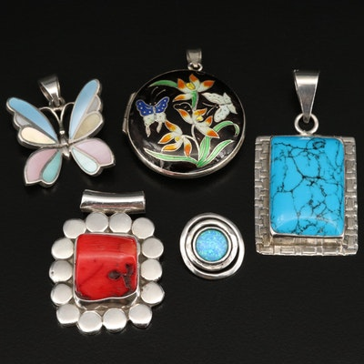 Sterling Silver Pendants Featuring Coral, Mother of Pearl and Cloissoné Accents