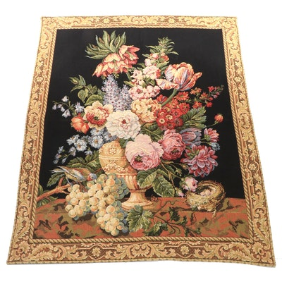 Machine Woven Jacquard Floral Still Life Tapestry