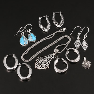 Sterling Silver Necklace with Assorted Earrings Featuring Turquoise Accents