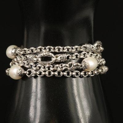 Scott Kay Sterling Pearl Station Bracelet