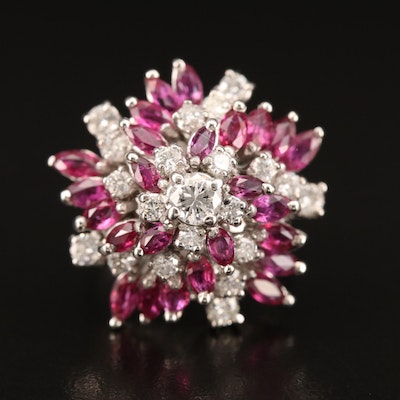 14K Ruby and 1.02 CTW Diamond Cluster Ring