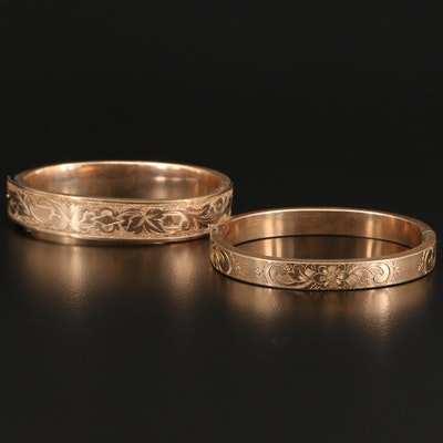 Vintage Hinged Bangles Featuring Engraved Foliate Patterns