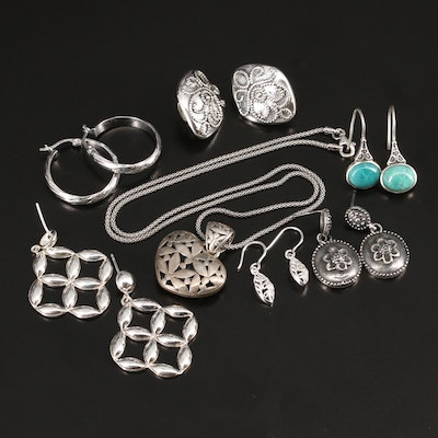 Assorted Sterling Silver Earrings with Necklace Including Turquoise Accents