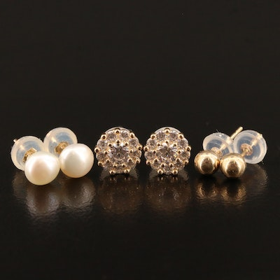 14K Stud Earring Selection Featuring Pearls and Cubic Zirconia