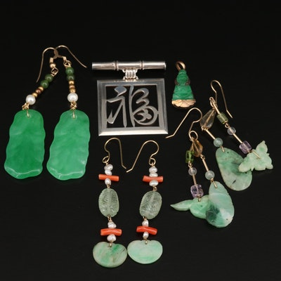 Asian Theme Jewelry with Jadeite, Coral and 950 Silver Brooch