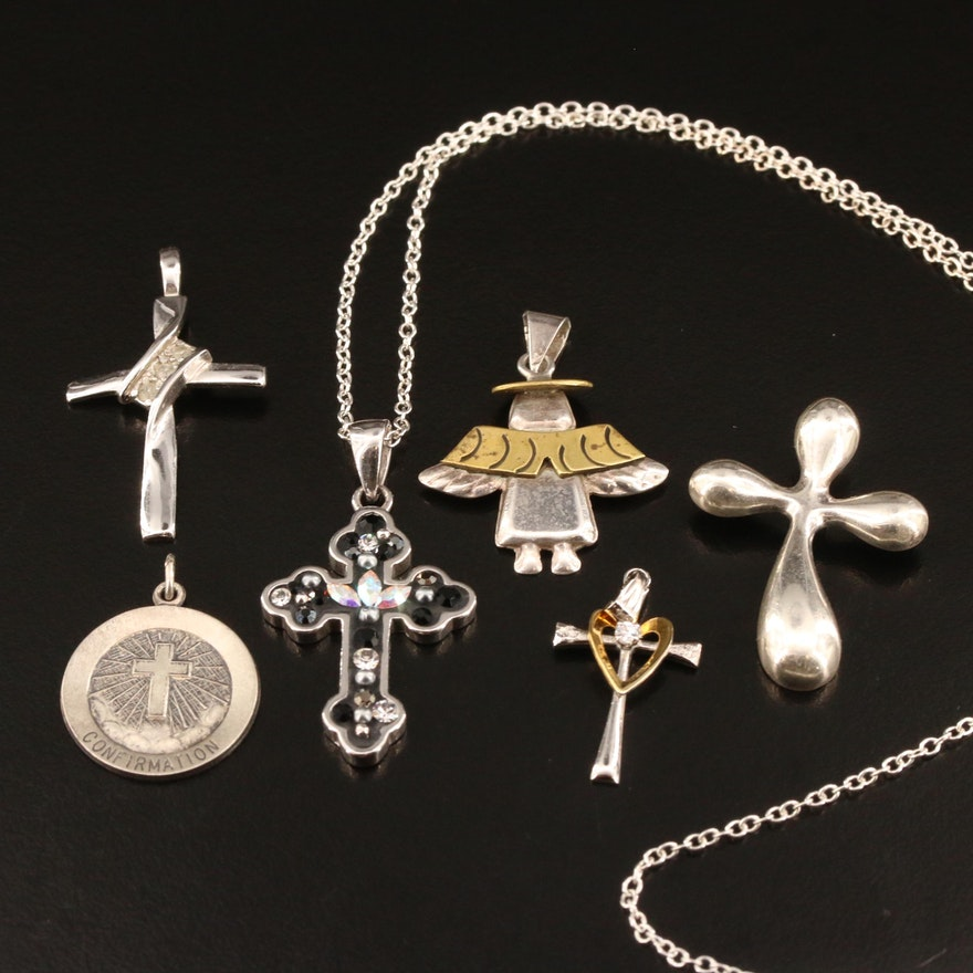 Religious Themed Sterling Silver Pendants with Rhinestone and Diamond Accents