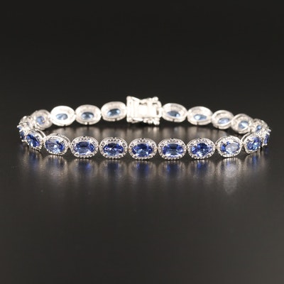 Sterling Silver Tanzanite and Diamond Line Bracelet