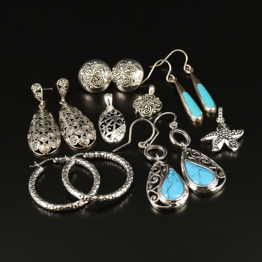Assorted Sterling Silver and Faux Turquoise Earrings and Pendants