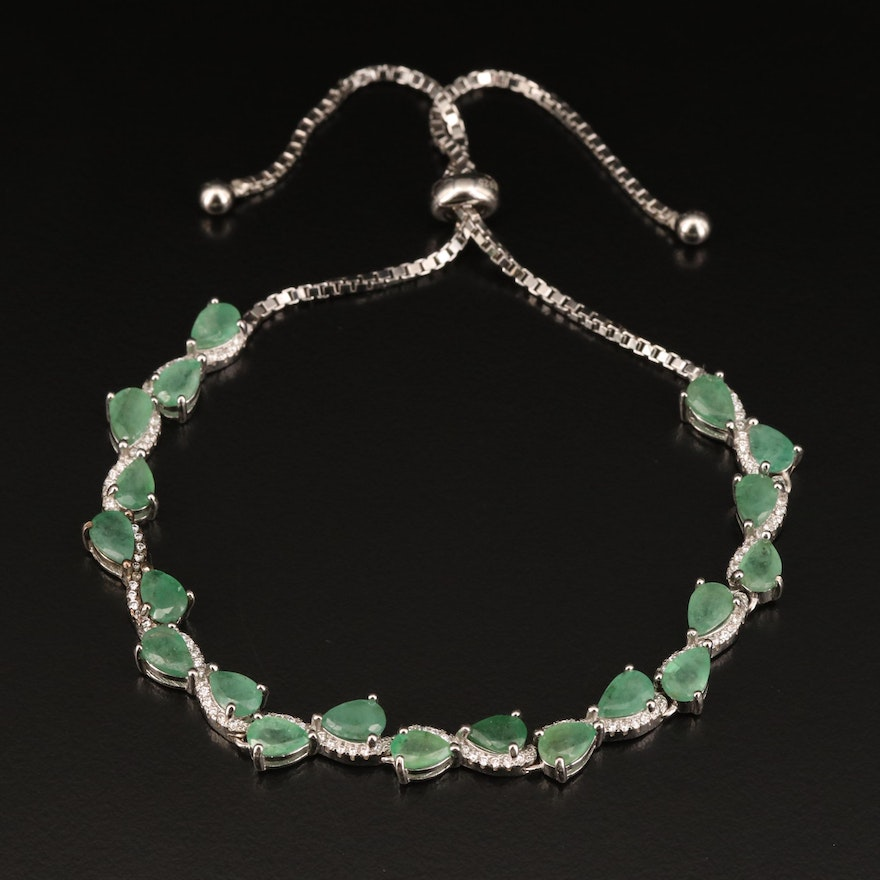 Sterling Emerald and Cubic Zirconia Bolo Bracelet