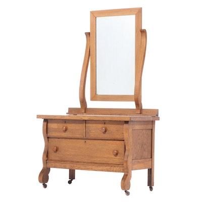 Oak Dresser with Mirror, Early 20th Century