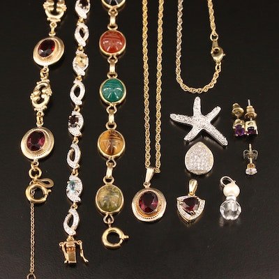 Assorted Jewelry Featuring Van Dell Scarab Bracelet and Gemstone Accents