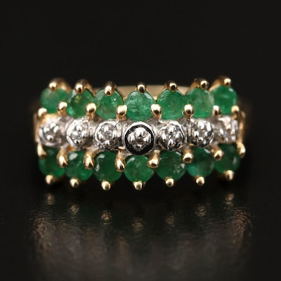 10K Diamond and Emerald Three Row Ring