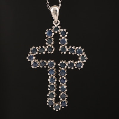 Sterling Sapphire Cross Necklace