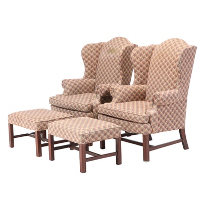 Pair of Sherrill Upholstered Wingback Armchairs with Ottomans