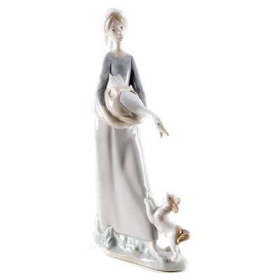 "Lladró ""Girl With Goose and Dog"" Porcelain Figurine, Late 20th Century"