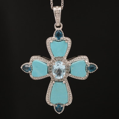 Sterling Silver Topaz and Imitation Turquoise Cross Pendant Necklace