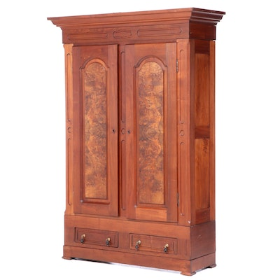 Victorian Walnut and Burl Walnut Wardrobe, Late 19th Century