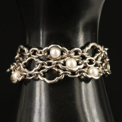 Charles Krypell Sterling Pearl Figaro Chain Bracelet