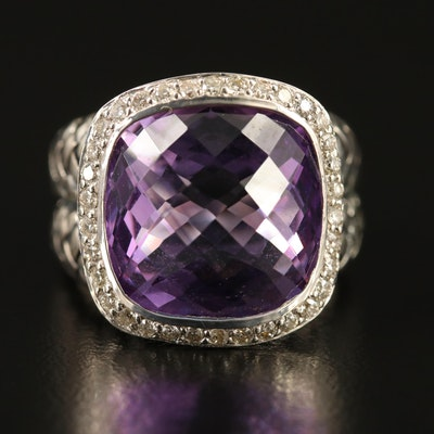 Scott Kay Sterling Amethyst and Diamond Halo Ring
