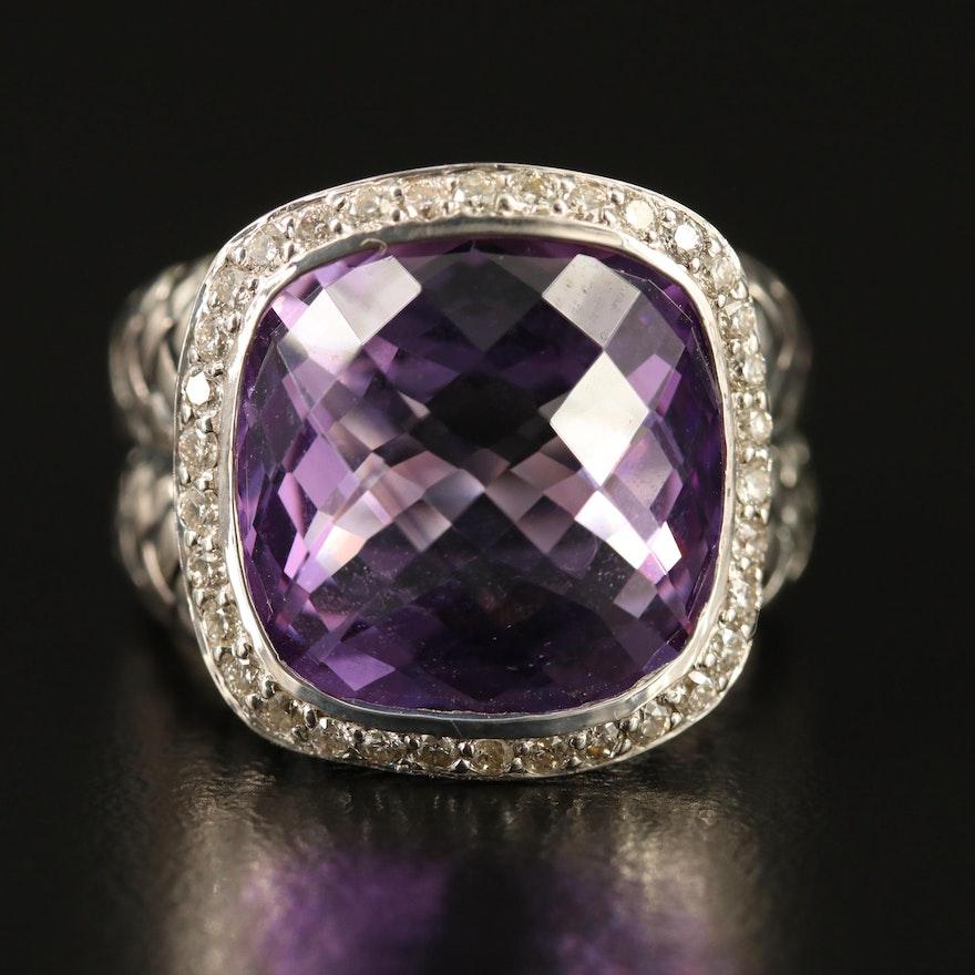 Scott Kay Sterling Amethyst and Diamond Halo Ring