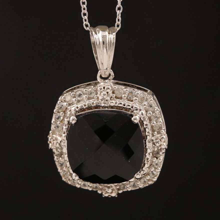 Sterling Silver Black Onyx and Topaz Pendant Necklace