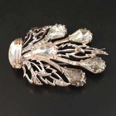 Circa 1935 Eisenberg Original Sterling Silver Rhinestone Fur Clip