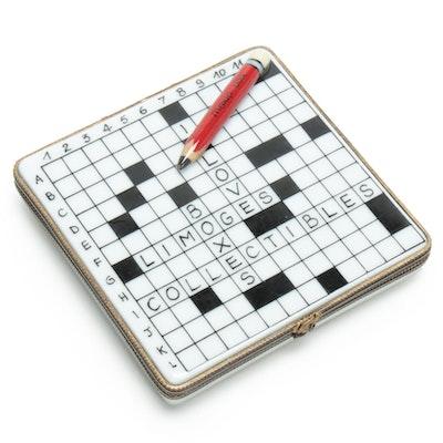 La Gloriette Hand-Painted Porcelain Crossword Puzzle Limoges Box