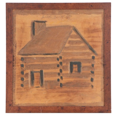 Jimmy Lee Sudduth Folk Art Mixed Media Painting of a House, Mid 20th Century