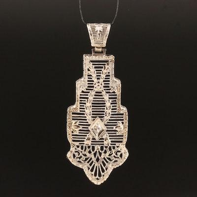 Art Deco 14K Diamond Filigree Pendant