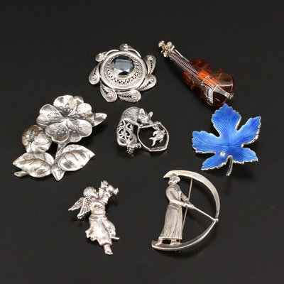 Vintage Sterling Silver Brooches Featuring Danecraft, Jezlaine and Hedy