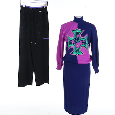 St. John Sport Chain and Rhinestone Embellished Sweater with Skirt and Pants