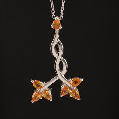 Sterling Sapphire Foliate Motif Pendant Necklace
