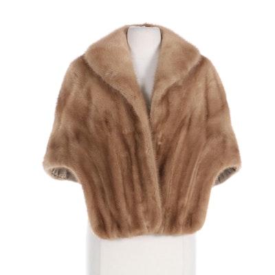 Pastel Mink Fur Open-Front Stole, Mid-20th Century