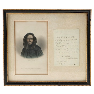 Elizabeth Barrett Browning Autograph Letter Signed and Hand-Colored Engraving