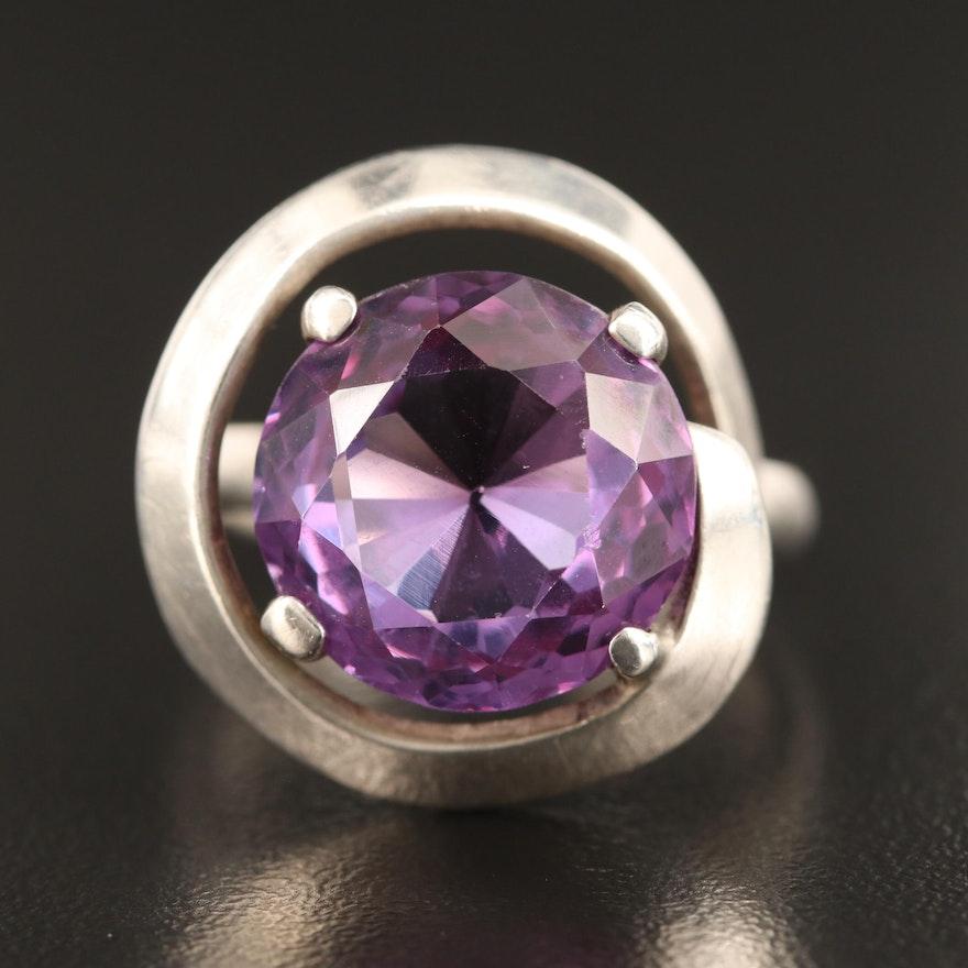 Sterling Silver Corundum Swirl Ring