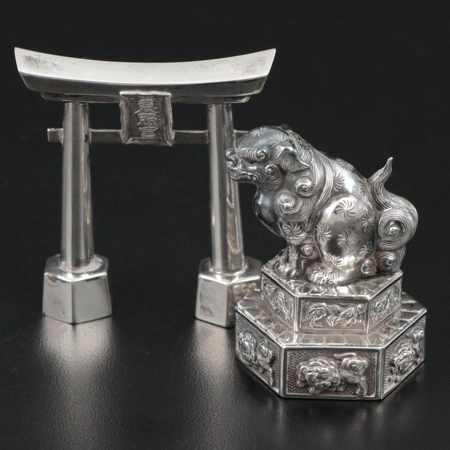 Japanese Torii Gate and Guardian Lion Sterling Silver Salt and Pepper Shakers