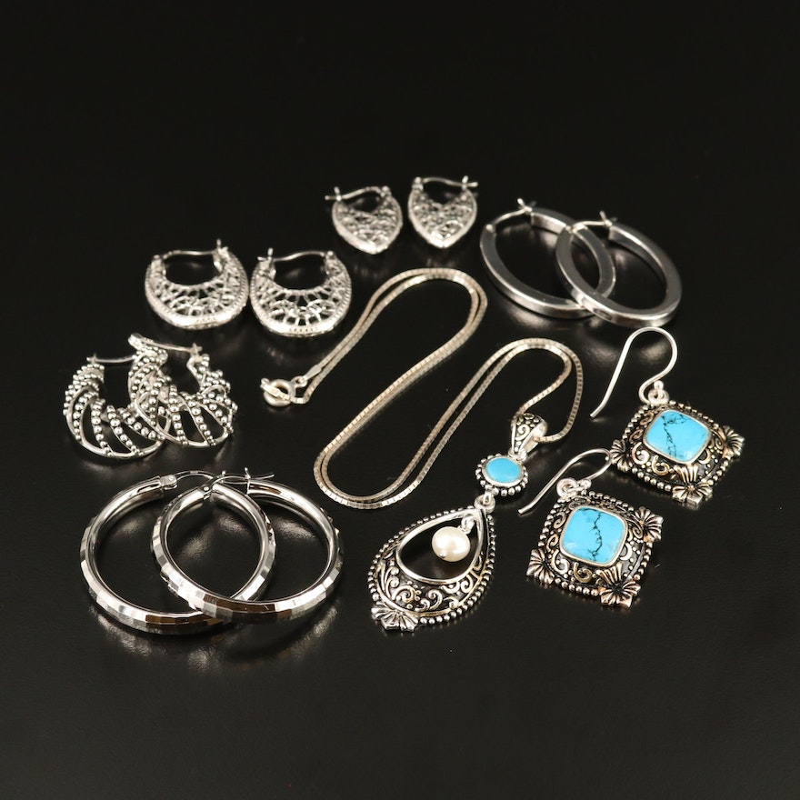 Necklace and Earrings Including Pearl and Faux Turquoise