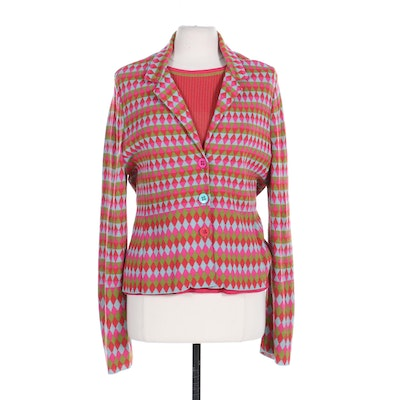 Catherine André Knit Sweater Jacket with Short Sleeve Top, Made in France