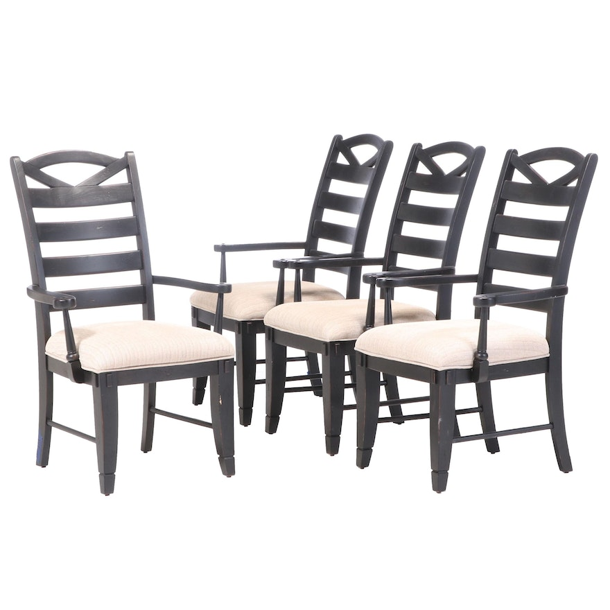 Four Contemporary Ebonized Upholstered Dining Chairs