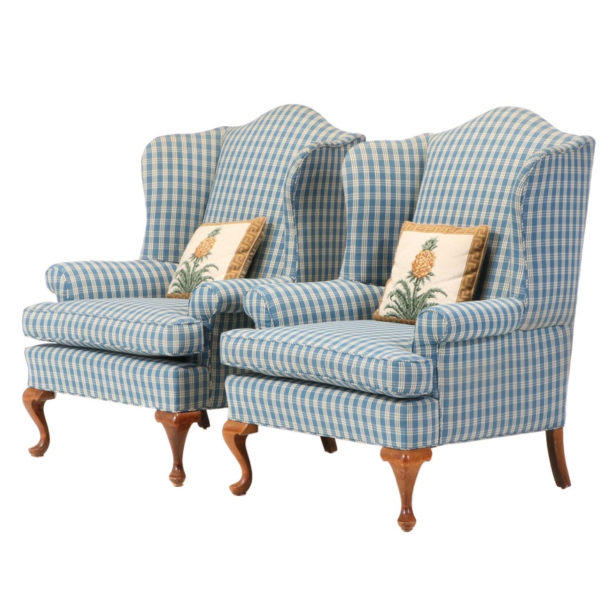 Pair of Queen Anne Style Upholstered Wingback Armchairs