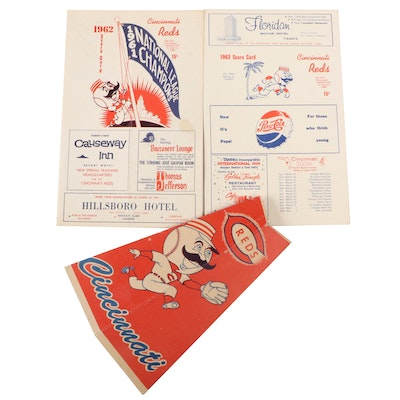 Cincinnati Reds 1962, 1963 Scorecards with a Crosley Field Popcorn Megaphone