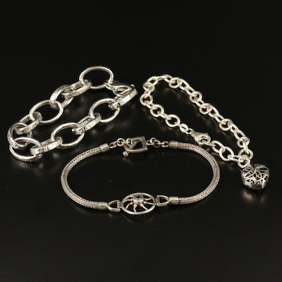 Sterling Silver Bracelets Including Heart Charm