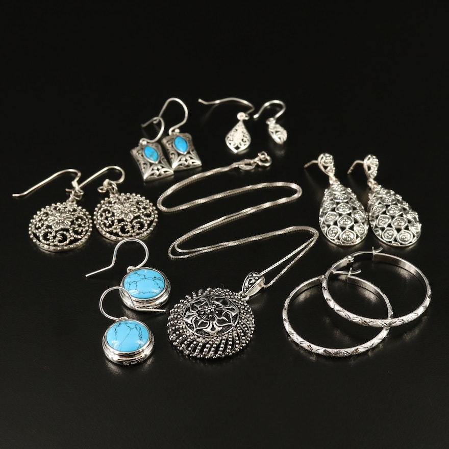 Assortment of Sterling Silver Earrings and Necklace